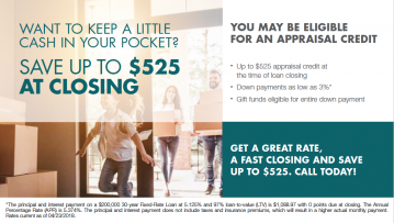 You may be eligible for an appraisal credit at time of closing.