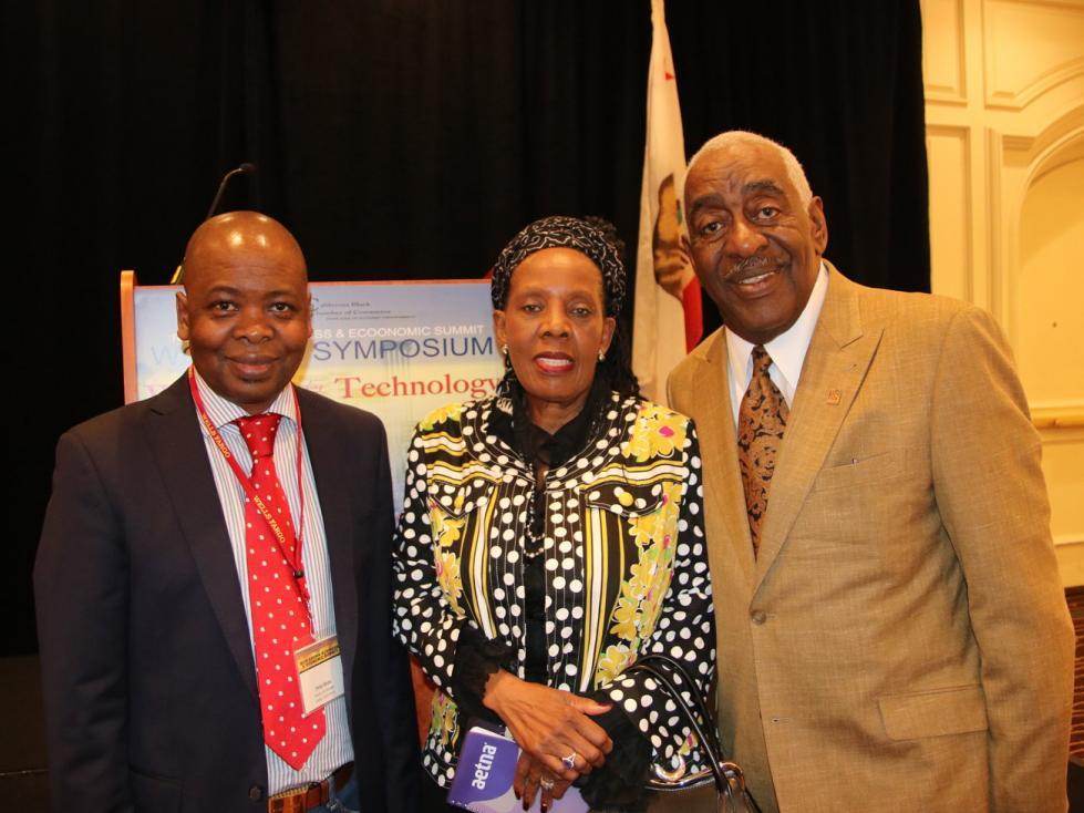 Phillip Sithole, Mathabo Kunene of ZA with Aubry Stone, Pres. CA Black Chamber