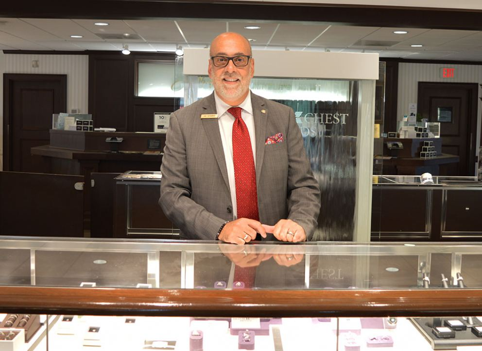 Michaels Jewelers' luxury specialist Joe DiFabbio in Danbury, Connecticut store