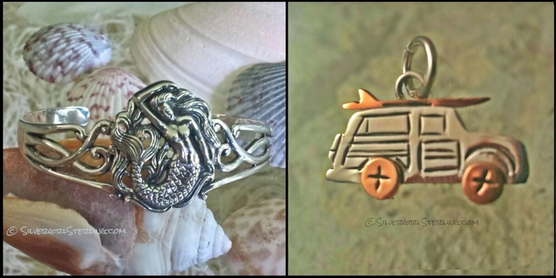 Exclusive Silvergirl Mermaid Cuff and Surf Wagon Pendant