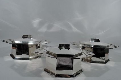 antique tiffany sterling silver covered tureens by