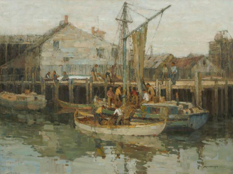 Oil on canvas by Frederick J. Mulhaupt (Am., 1871-1938), signed lower right.