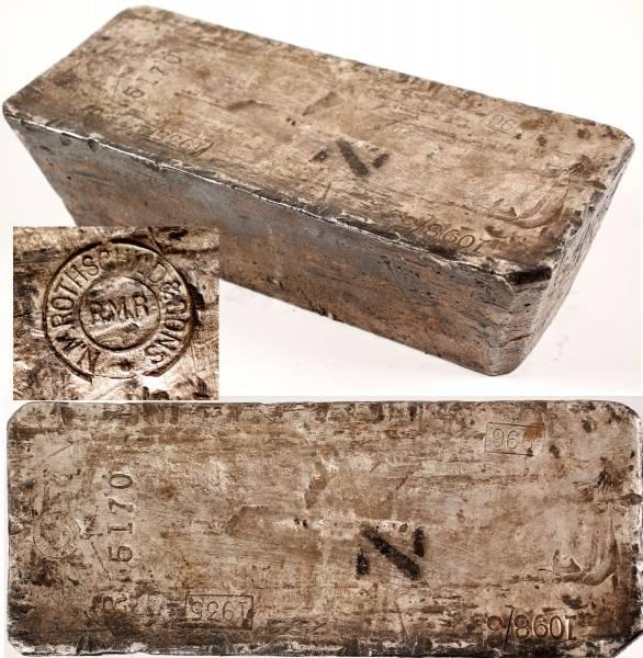Large Rothchild & Sons silver ingot, 966 fine, 1098.3 troy ounces ($23,500).