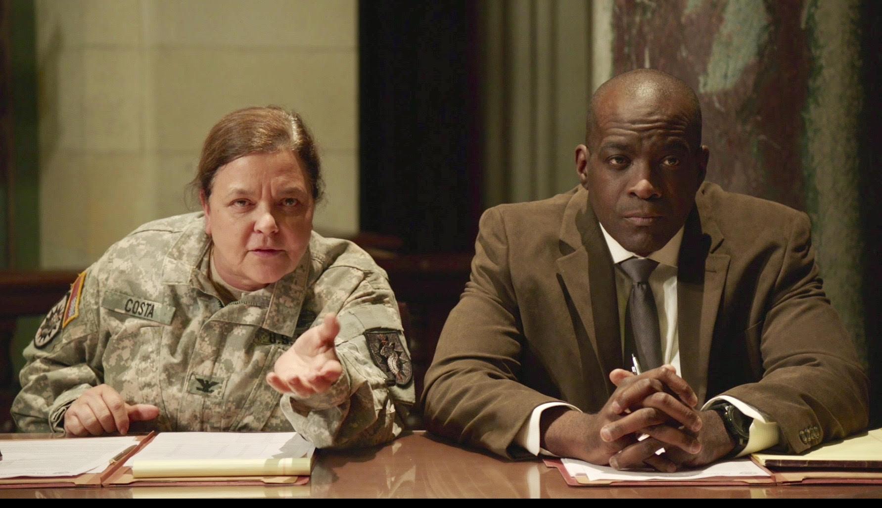 Ret. Colonel / actress Lisa Costanza and actor Marlon Sanders in MIRROR IMAGE.