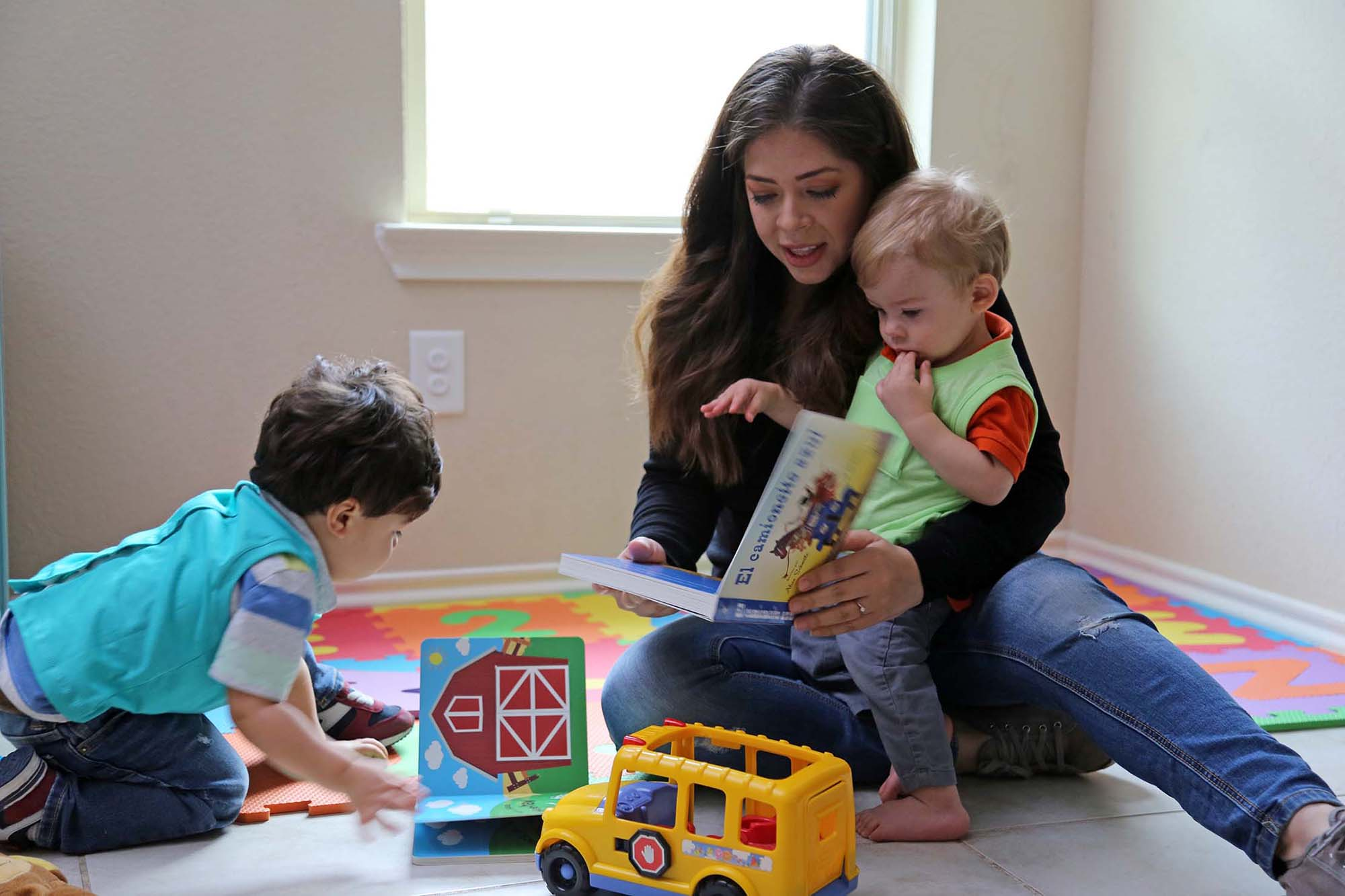 A family uses LENA technology to measure adult words and conversational turns.
