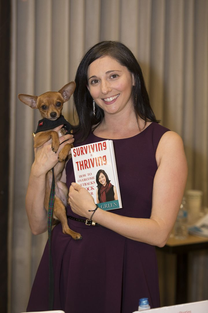 Sheryl Green with Book and Pup