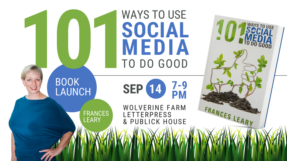 101 Ways to Use Social Media to Do Good Book Release Party Announcement