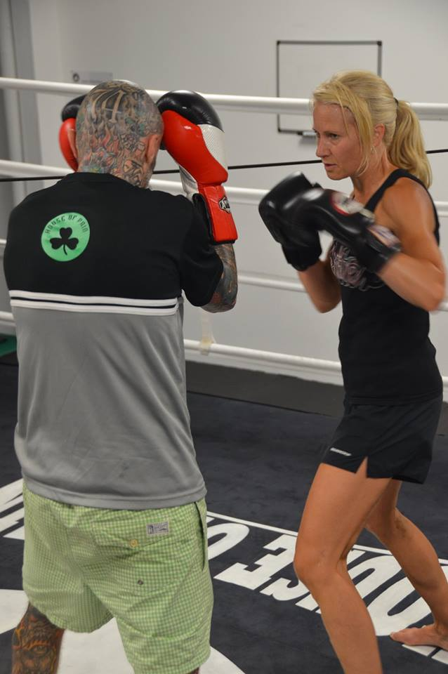 Denise Castle sparring with trainer Danny Ruegg