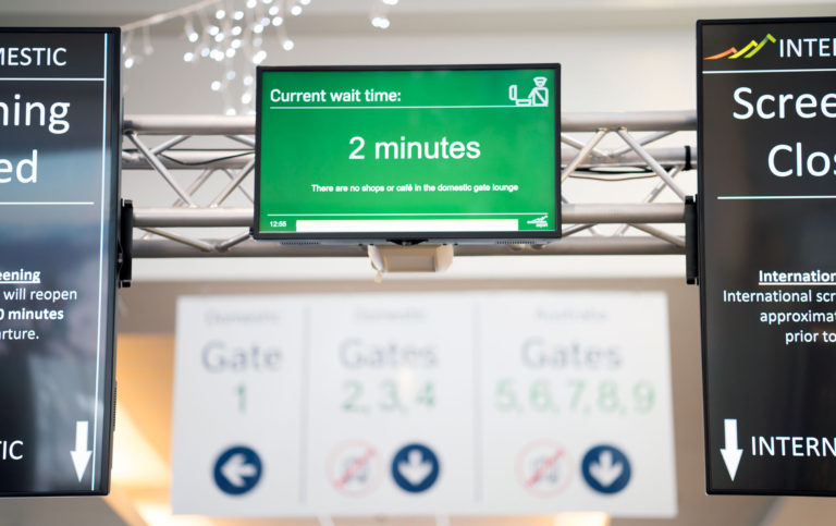 Wait time screen at Queenstown Airport
