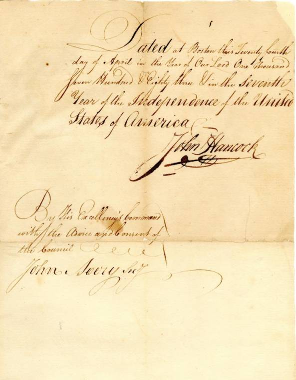 Superb John Hancock signed manuscript from 1783 (est. $4,000-$5,000).