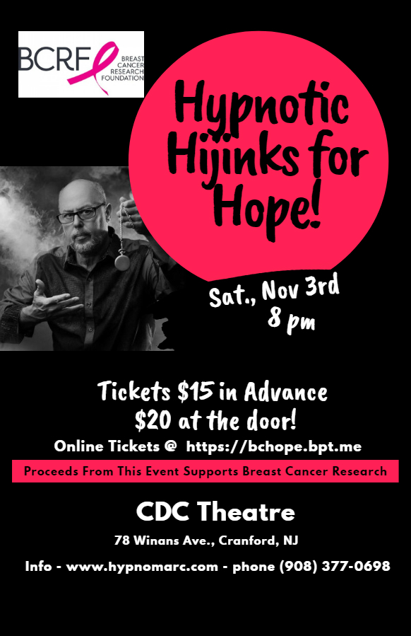 Hypnotic Hijinks for Hope comes to the CDC Theatre - Cranford, NJ