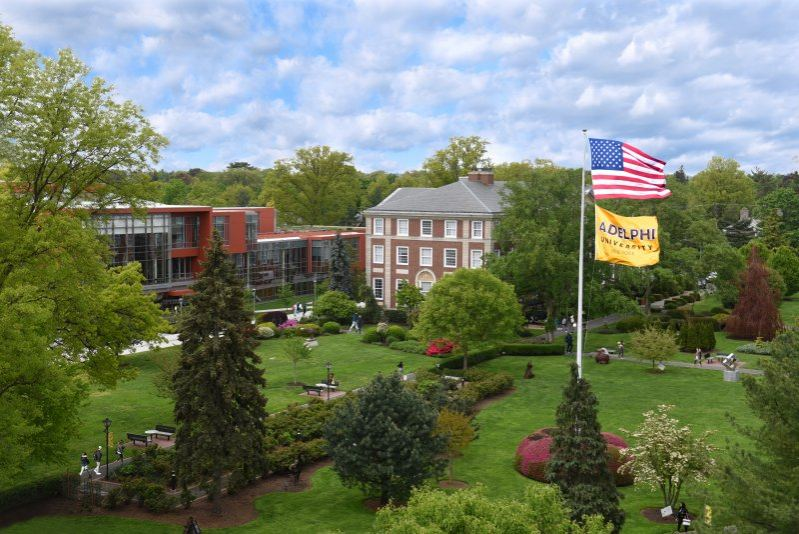 The Flag Lawn on Adelphi University's campus in Garden City, New York.
