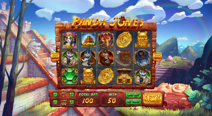 """Game deisgn for the online slot game """"Panda Jones"""""""