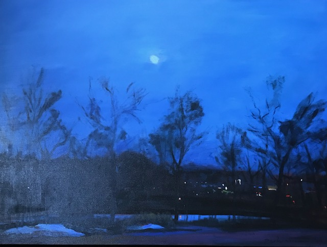 "Roy Perkinson ~ 'Moon, Farm Pond' ~ Oil on Canvas 30"" x 40"""