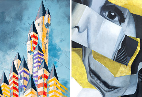 """Castle Towers,"" by Ed Porzio and ""Louise,"" by Diana ZIpeto"