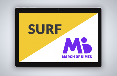 Surf is partnering to promote March of Dimes on rideshare entertainment tablets.