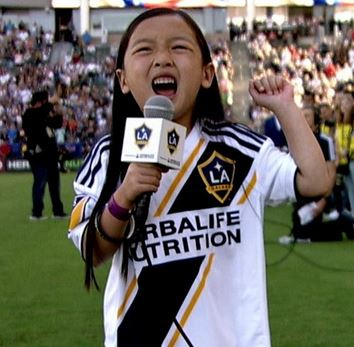 Malea Emma Tjandrawidjaja singing the National Anthem, LA Galaxy