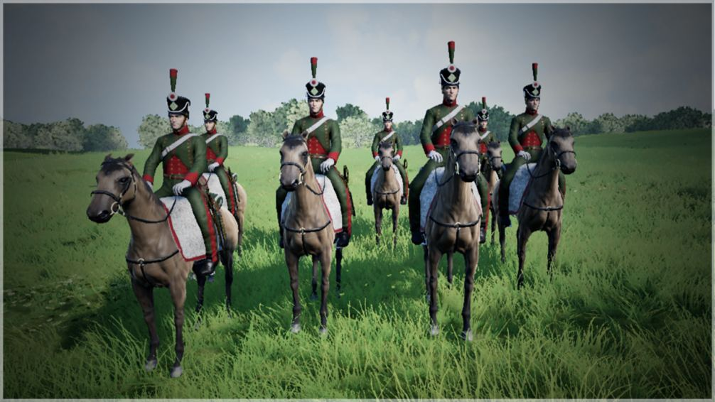 French Chasseurs a Cheval (Light Cavalry) in the game Waterloo 3D
