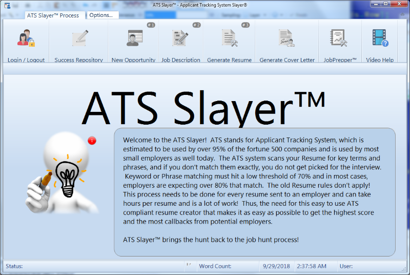 ATS Slayer(TM) Main Screen