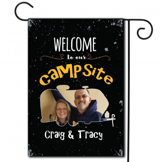 Welcome To Our Campsite Photo Flag