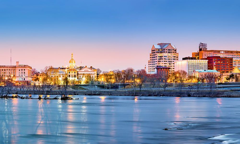 The skyline of Trenton, the capital of the US state of New Jersey.