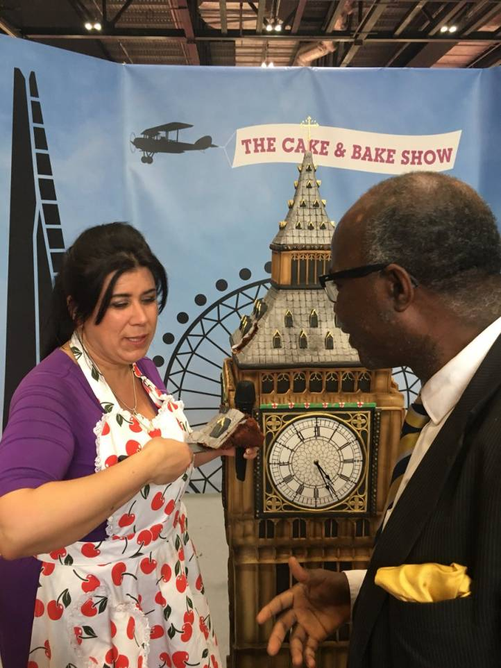"Celeb Chef ""Rosie Cake Diva"" with Professor Chris Imafidon & Big-ben cake"