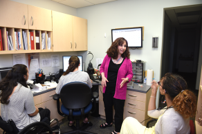 Students and faculty in the Hy Weinberg Center for Communication Disorders.