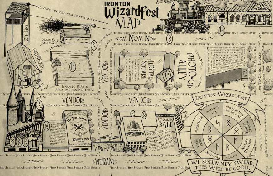 The map of Ironton Wizardfest by Josh Day.
