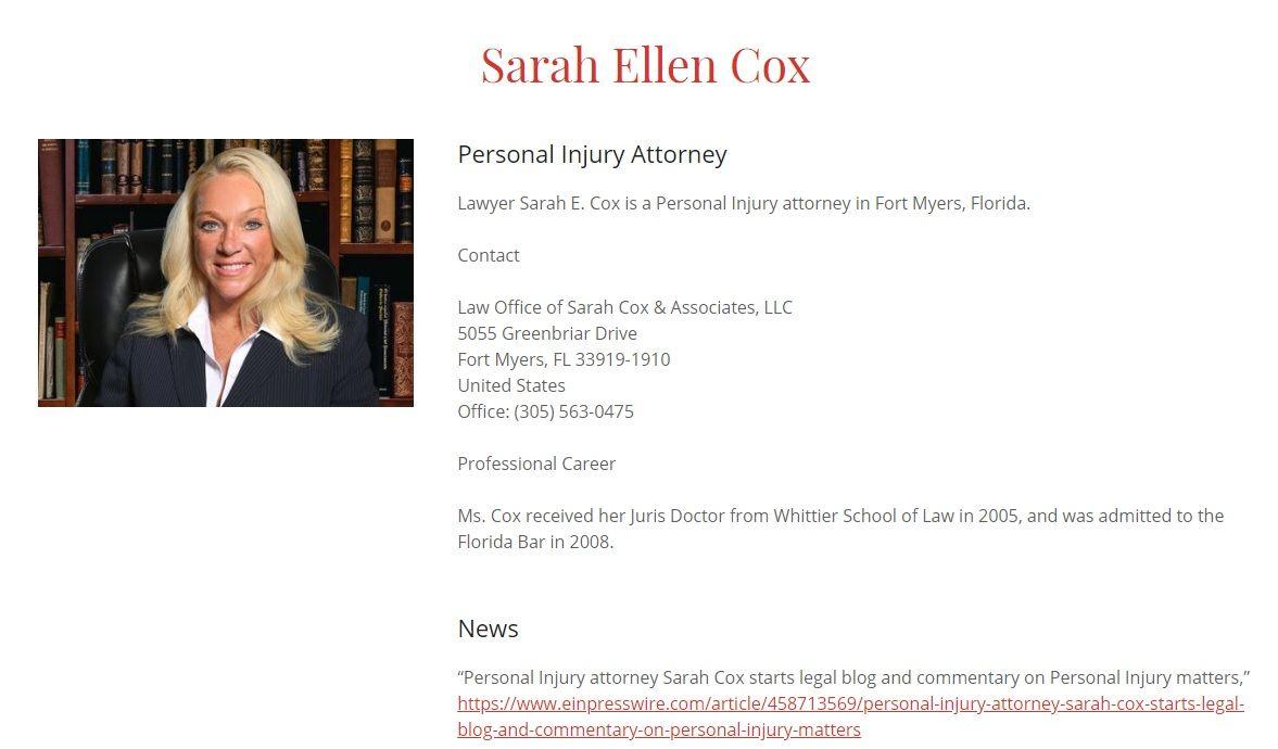 Sarah E Cox, Profile, Attorney in Florida