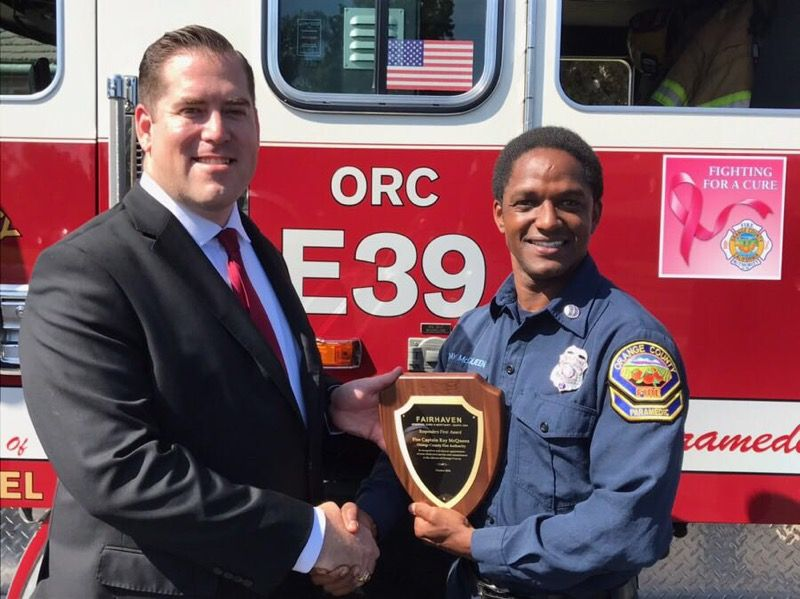 L-R, Rod Gomez, General Manager at Fairhaven and Ray McQueen, OCFA Fire Captain