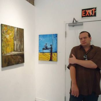 Carl with 2 of his works in Toronto