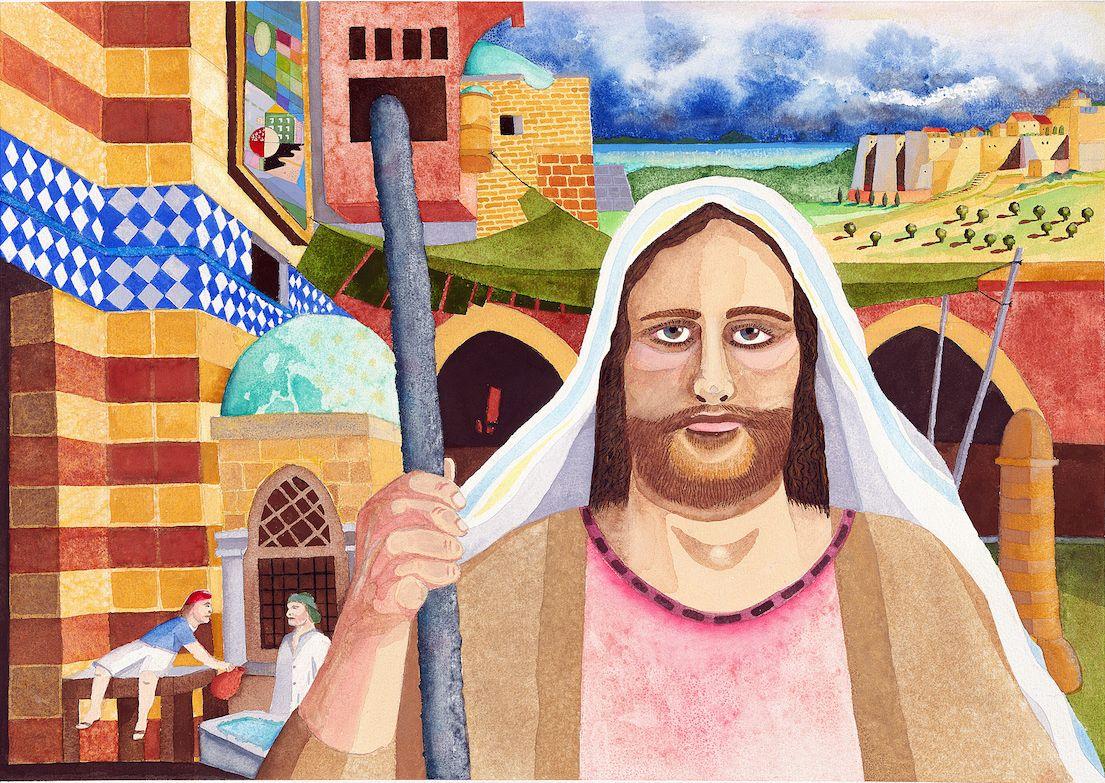 "Jesus Christ Watercolor 24 x 32"" 2018"