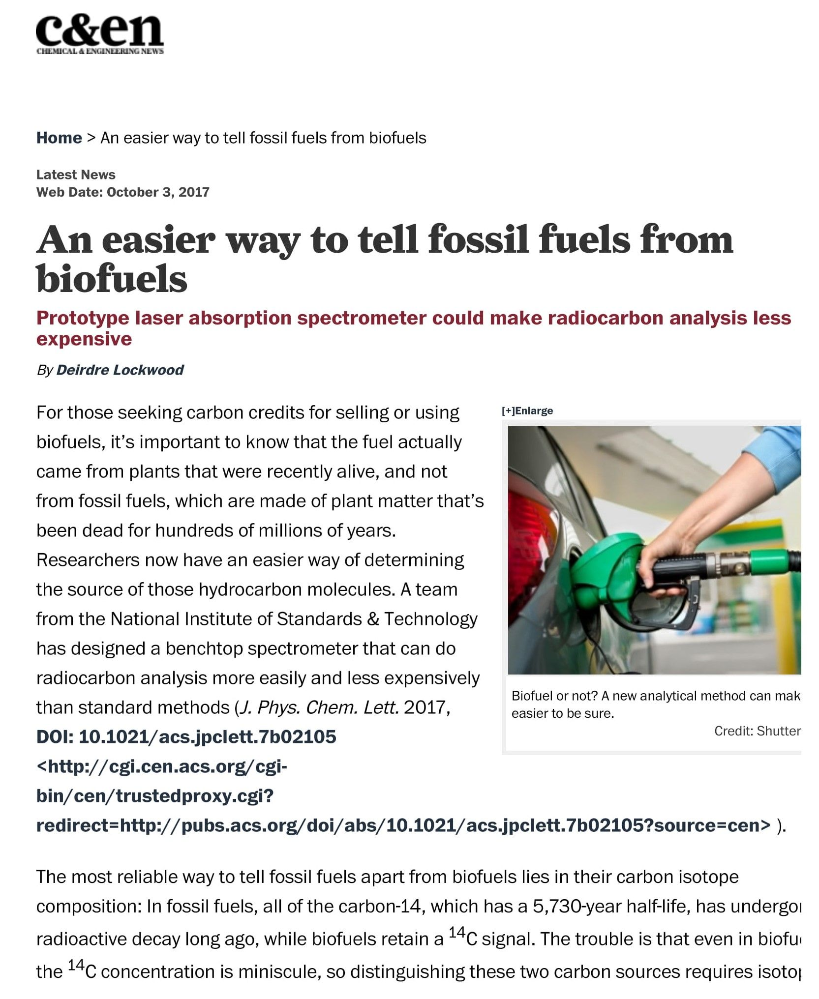 c&en--An easier way to tell fossil fuels from biofuels