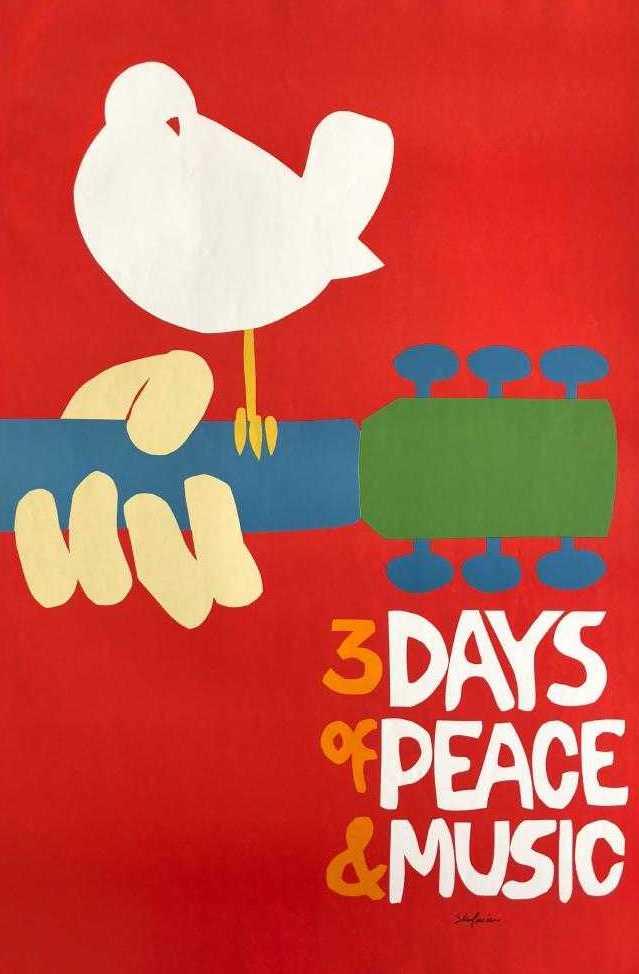 Rare 1969 Woodstock Original Poster - No Black Plate