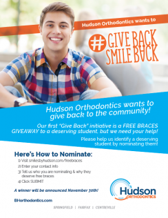 Hudson Orthodontics Free Braces Giveaway