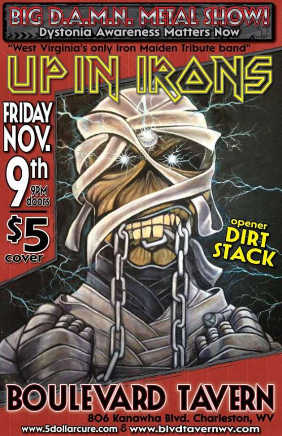 Up In Irons headlines a benefit concert for dystonia research.