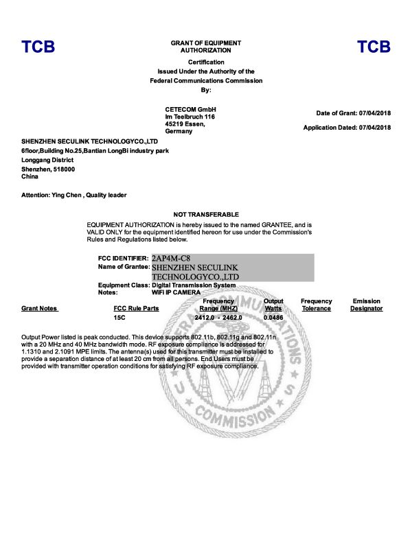 Seculink-FCC-2AP4M-C8,Grant