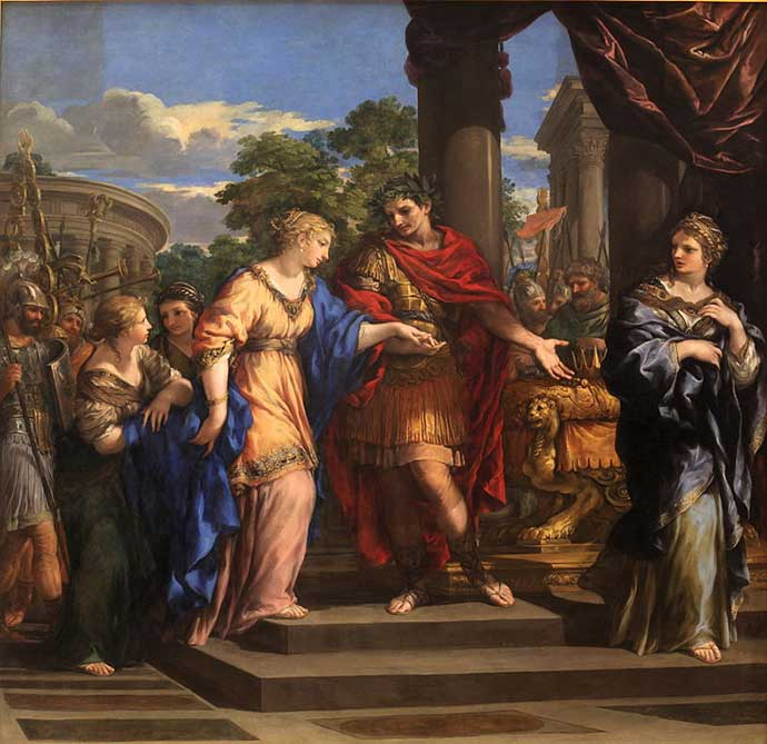 Caesar giving Cleopatra the throne of Egypt, painted by P. da Cortona (1596-1