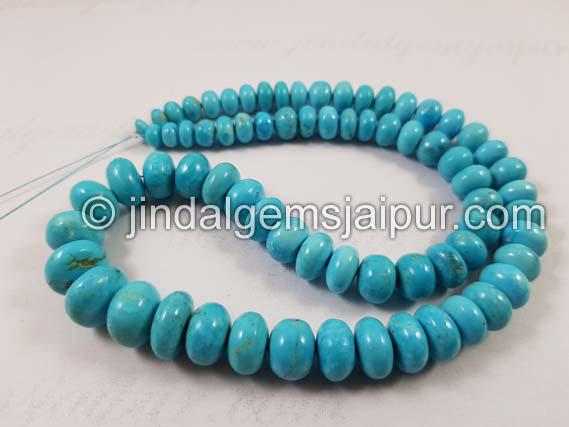 Natural Turquoise Smooth Roundelle Beads 6 To 12 M