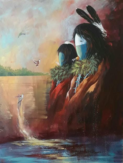 """Grandpa's Chant"", 48x36,acrylic on canvas, David K. John"