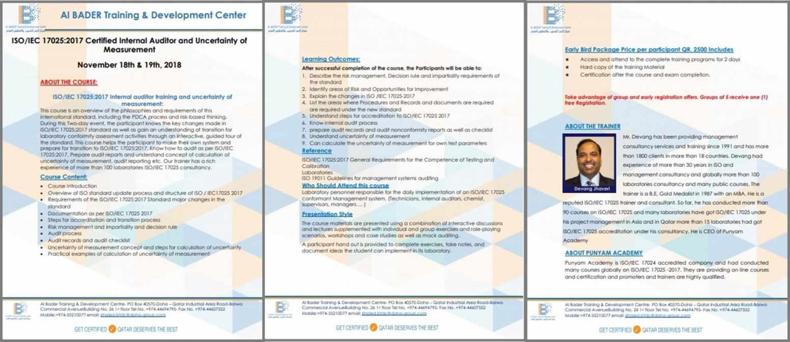 ISO 17025-2017 Internal Auditor Training at Qatar