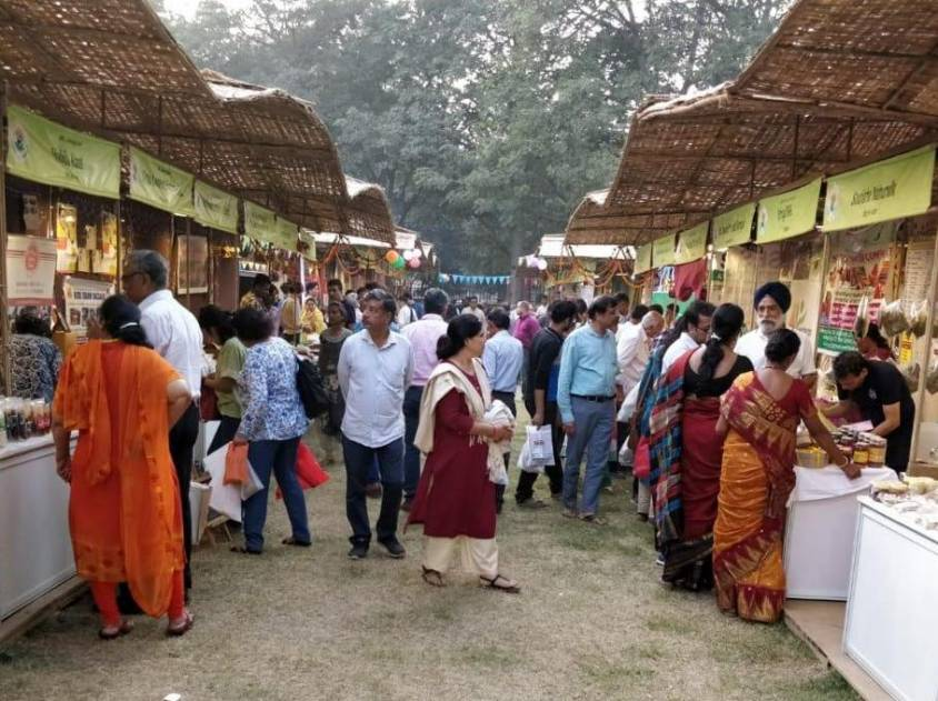 Visitors at stalls of the Women of India National