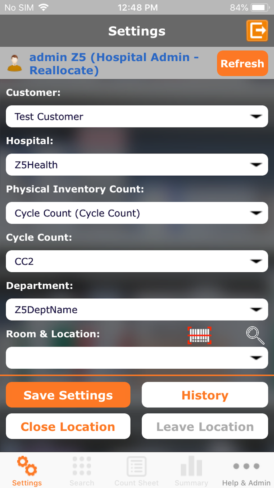The Z5 App Location Selection Screen for iPhone