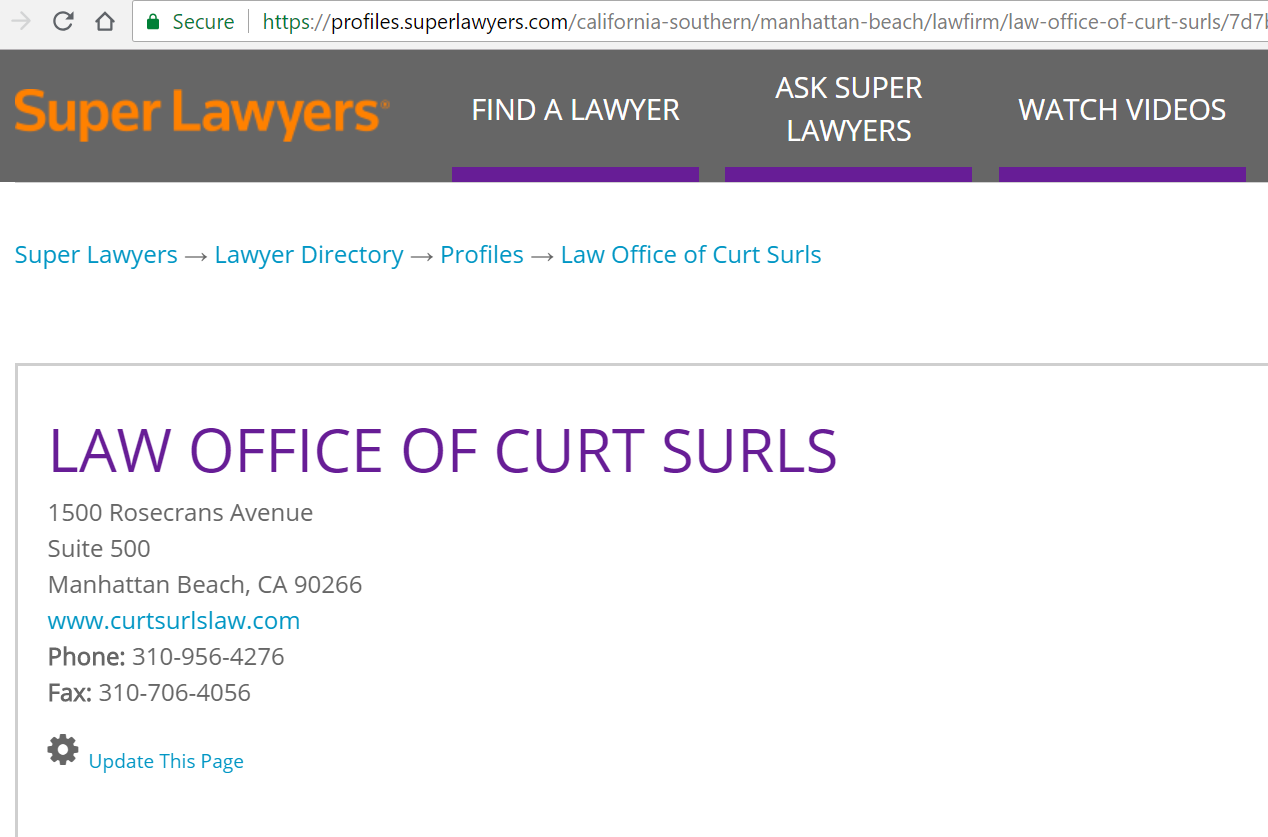 Profile of Curt Surls on Super Lawyers