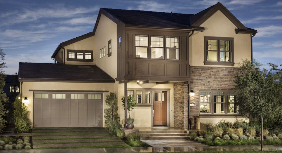 New luxury homes in Irvine showcasing beautiful design details like basements