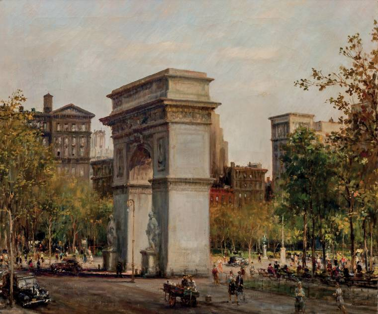 Oil on canvas by Alfred S. Mira (Am., 1900-1981), titled Washington Square Park.