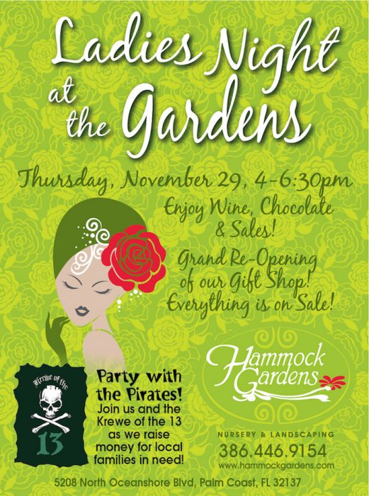 Hammock Gardens Nursery & Landscaping to host Ladies Night Nov. 29, 2018.
