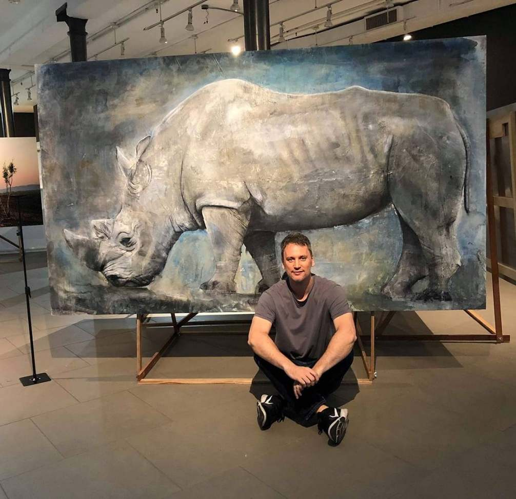Russ Ronat and the White Rhino drawing on canvas