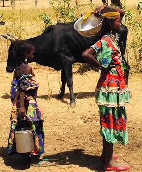 girls getting water