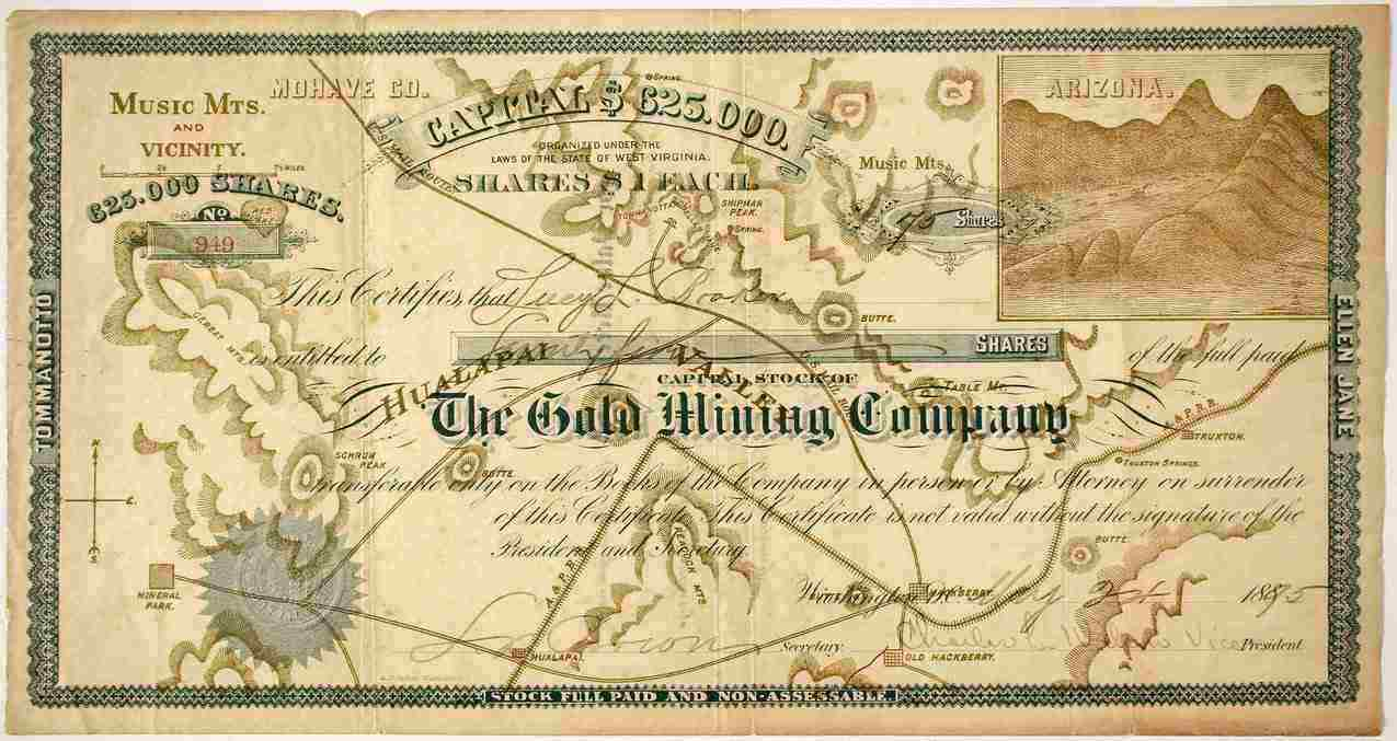 Stock certificate #949 from The Gold Mining Company in Arizona, dated 1895.